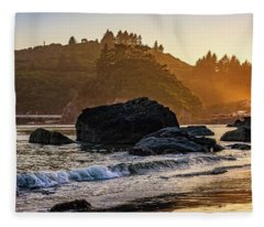 Hazy Golden Hour At Trinidad Harbor Fleece Blanket