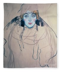 Head Of A Woman Fleece Blanket