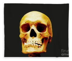 Fleece Blanket featuring the photograph Head Skeleton by Mats Silvan
