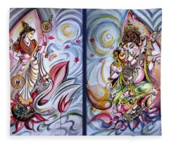 Healing Art - Musical Ganesha And Saraswati Fleece Blanket