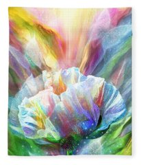 Fleece Blanket featuring the mixed media Healing Poppy With Butterflies by Carol Cavalaris