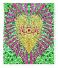 Heart Flower For Mom Fleece Blanket