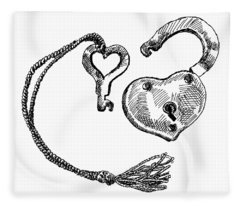 Heart Lock And Key Fleece Blanket