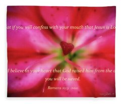 Heart Of A Flower With Bible Verses Fleece Blanket