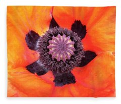 Heart Of A Poppy Fleece Blanket