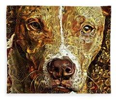 Heart Of Gold Pit Bull Fleece Blanket
