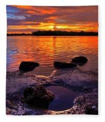 Heart Shaped Pool At Sunset Over Lake Worth Lagoon On Singer Island Florida Fleece Blanket