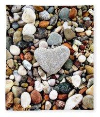 Heart-shaped Stone Fleece Blanket
