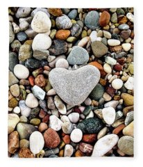 Heart-shaped Stone Fleece Blanket