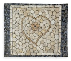 Heart Shaped Traditional Portuguese Pavement Fleece Blanket