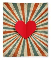 Heart With Ray Background Fleece Blanket
