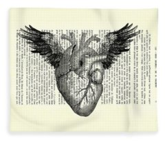Heart With Wings In Black And White Fleece Blanket