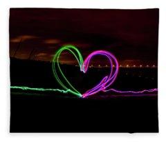 Hearts In The Night Fleece Blanket