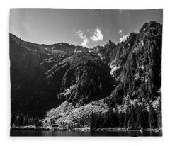 Heather Lake Black And White Fleece Blanket