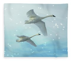 Heavenly Swan Flight Fleece Blanket