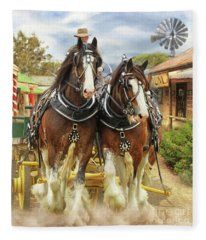 Heavy Horses Fleece Blanket