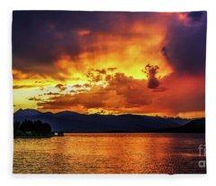 Hebgen Lake Sunset Fleece Blanket