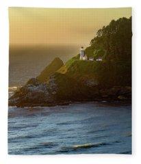Heceta Head Lighthouse At Sunset Fleece Blanket