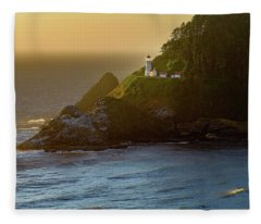 Heceta Head Lighthouse At Sunset Fleece Blanket