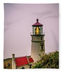 Heceta Head Lighthouse In The Fog Fleece Blanket