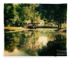 Heckscher Park Pond, Huntington Ny Fleece Blanket