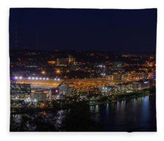 Heinz Field At Night From Mt Washington Fleece Blanket