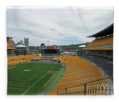 Heinz Stadium With Pittsburgh Skyline Fleece Blanket
