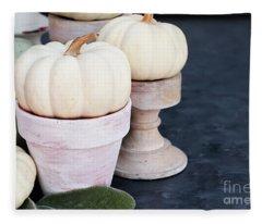 Heirloom And Mini Pumpkins On Rustic Table Fleece Blanket