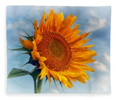 Helianthus Annuus Greeting The Sun Fleece Blanket