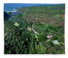 Helicopter Overview Of Waimea Valley On The North Shore Of Oahu, Fleece Blanket