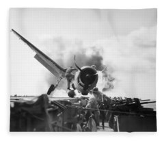 Hellcat Aircraft Slams Into U S S Enterprise Carrier  1943 Fleece Blanket