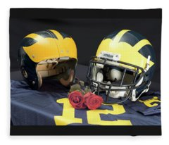 Helmets Of Different Eras With Jersey And Roses Fleece Blanket