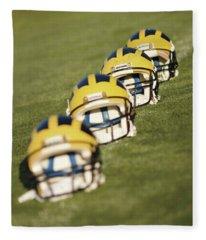 Helmets On Yard Line Fleece Blanket