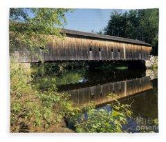 Hemlock Covered Bridge - Fryeburg Maine Usa. Fleece Blanket