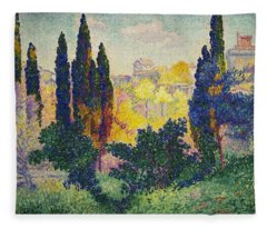 Henri Edmond Cross French Les Cypres A Cagnes Fleece Blanket