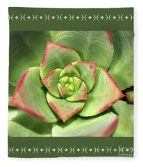 Hens And Chicks Succulent And Design Fleece Blanket