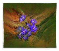 Hepatica Nobilis Painterly #h4 Fleece Blanket