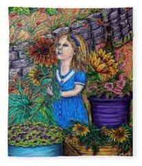 Her First Garden Fleece Blanket