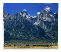 Herd Of Bison Teton Range Grand Tetons National Park Wyoming Fleece Blanket
