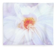 Here Comes The Bride - A Beautiful White Dahlia Fleece Blanket