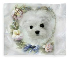 Hermes And Floral Heart Fleece Blanket