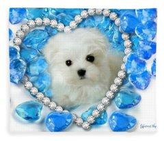 Hermes The Maltese And Blue Hearts Fleece Blanket