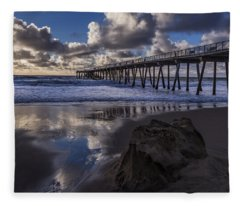Hermosa Beach Pier Fleece Blanket
