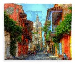 Fleece Blanket featuring the digital art Heroic City, Cartagena De Indias Colombia by Rafael Salazar