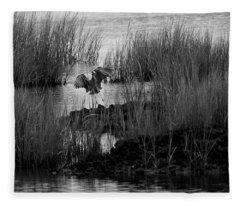 Heron And Grass In B/w Fleece Blanket