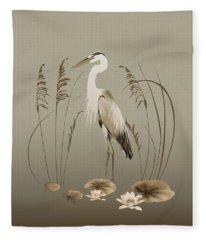 Heron And Lotus Flowers Fleece Blanket