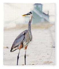Heron And The Beach House Fleece Blanket