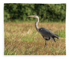 Heron In The Field Fleece Blanket
