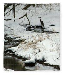 Heron In Winter Fleece Blanket