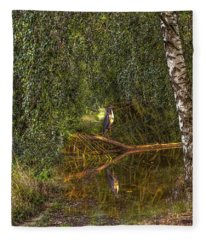 Heron On Path #g7 Fleece Blanket